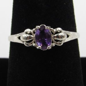 Jewelry - Vintage Size 8.5 Sterling Rustic Purple CZ Ring